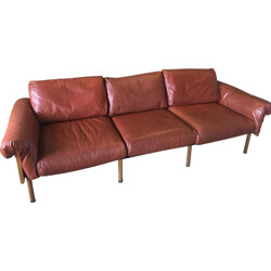 3-seater sofa Ateljee in leather and wood by Yrjö Kukkapuro for Haimi - 1960s