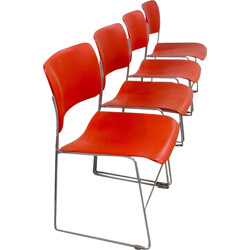 "Set of 4 orange chairs ""404""  in chrome steel by David Rowland -  1970s"