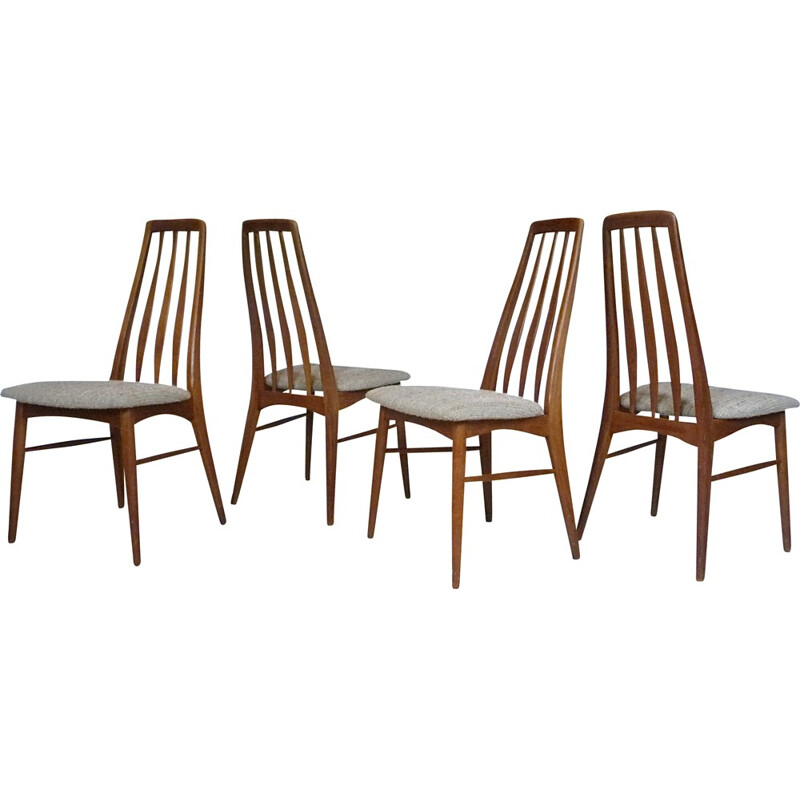 "Set of 4 ""Eva"" Danish dining chairs in teak by Niels Koefoed for Koefoed Møbelfabrik - 1960s"