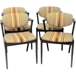 Set of 4 chairs in dark oakwood and fabric by Kai Kristiansen for Schou Andersen - 1950s