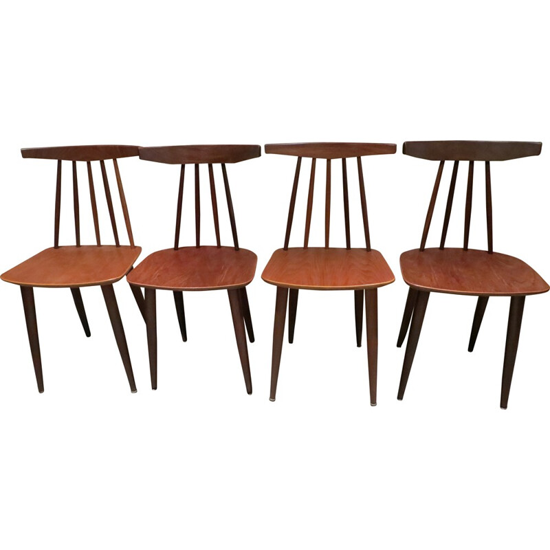 Set of 4 Danish chairs in teak by Poul Volther for Frem Rojle - 1960s