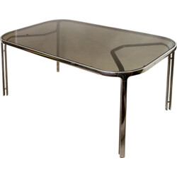 Dining table in chromed steel and glass by Renato Zevi - 1970s