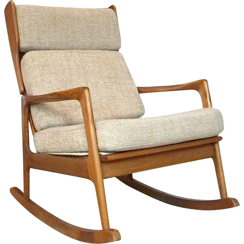 Beige rocking chair in wood and wool - 1960s
