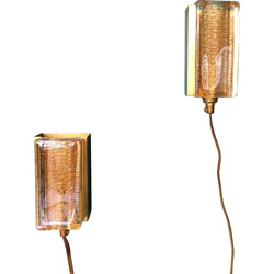 Pair of Vitrika wall lamps in brass and glass - 1970s