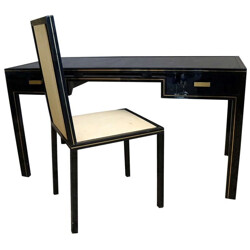 Metal and glass desk with chair by Pierre Vandel - 1970s