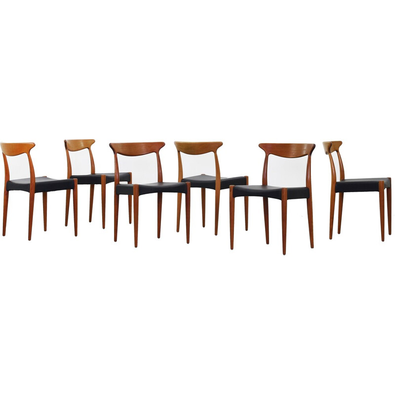 Set of 6 Dining Chair by Arne Hovmand Olsen for Mogens Kold - 1960s