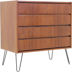 Danish teak chest of drawers with hairpin legs - 1960s