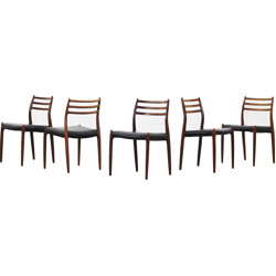 Set of 5 model 78 chairs in rosewood and leather, Niels O. Moller - 1960s