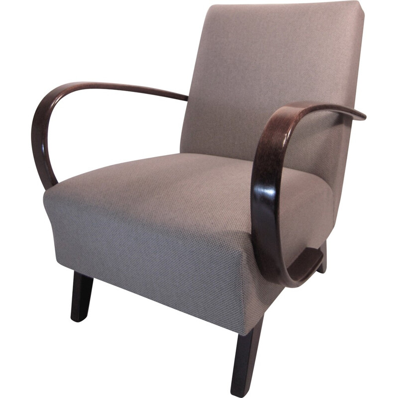 Pair of grey armchairs in wood and fabric by Jindrich HALABALA for Thonet - 1930s