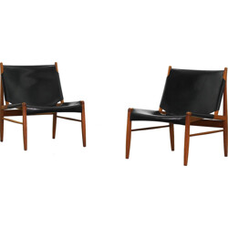 """Pair of WK Möbel Oakwood """"Hunting"""" lounge chairs, Franz Xaver Lutz - 1950s"""