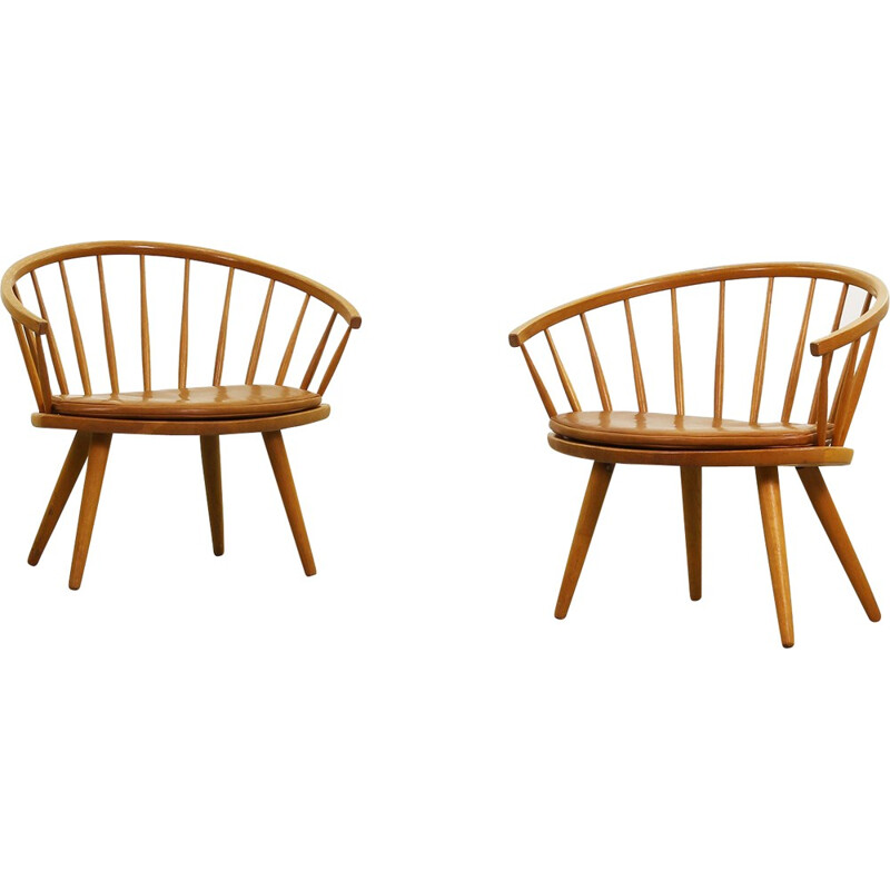 Pair of Stolab Lounge Chairs, Yngve Ekström - 1950s
