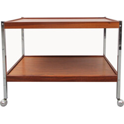 Brown serving trolley in rosewood and chromed steel - 1970s