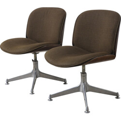 Pair of brown desk chairs in rosewood and aluminium by Ico Parisi for MIM - 1950s