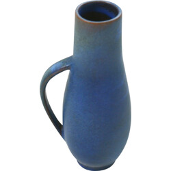 Blue vase in ceramic produced by Majolika Karlsruhe - 1960s