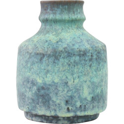 Green vase in ceramic produced by Majolika Karsruhe - 1960s