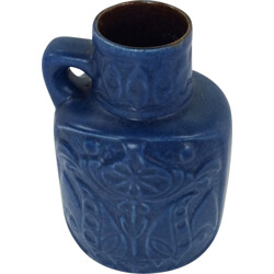 Blue ceramic vase with floral pattern - 1960s