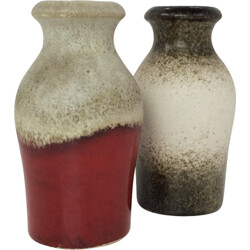 Pair of beige vases in ceramic produced by Scheurich - 1960s