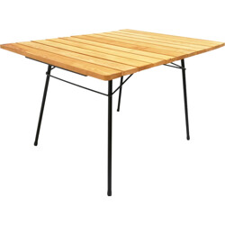 Dining table in steel and oakwood - 1950s