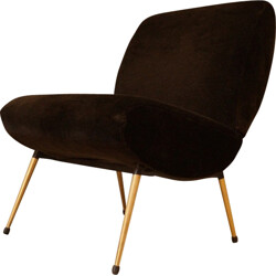 Brown velvet low chair with compass legs - 1950s