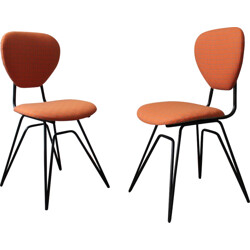 Pair of mid-century orange dining chairs - 1950s