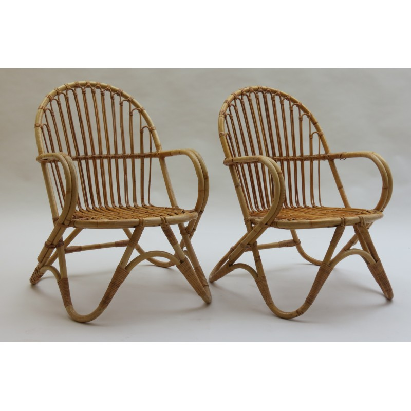 Pair of cane chairs made by Angraves, UK - 1970s - Design Market