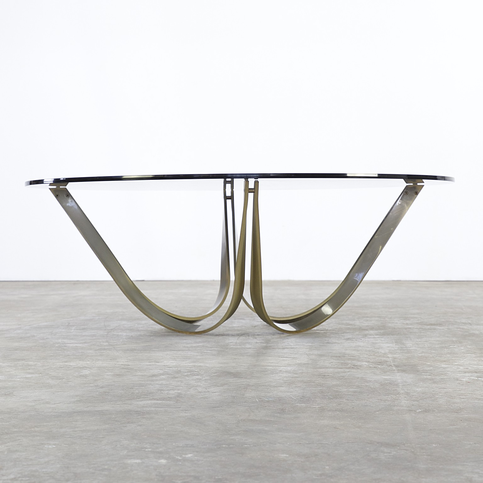 Brass and glass coffee table Roger Sprunger for Dunbar Furniture