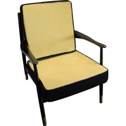 Vintage yellow and black armchair - 1960s