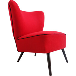 Vintage red cocktail armchair - 1960s