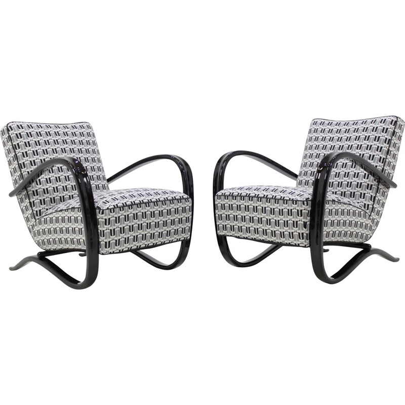 A pair of H-269 white easy chairs by Jindrich Halabala - 1940s