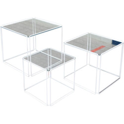 """Set of 3 nesting tables """"Isocele"""" by Max Sauze - 1970s"""