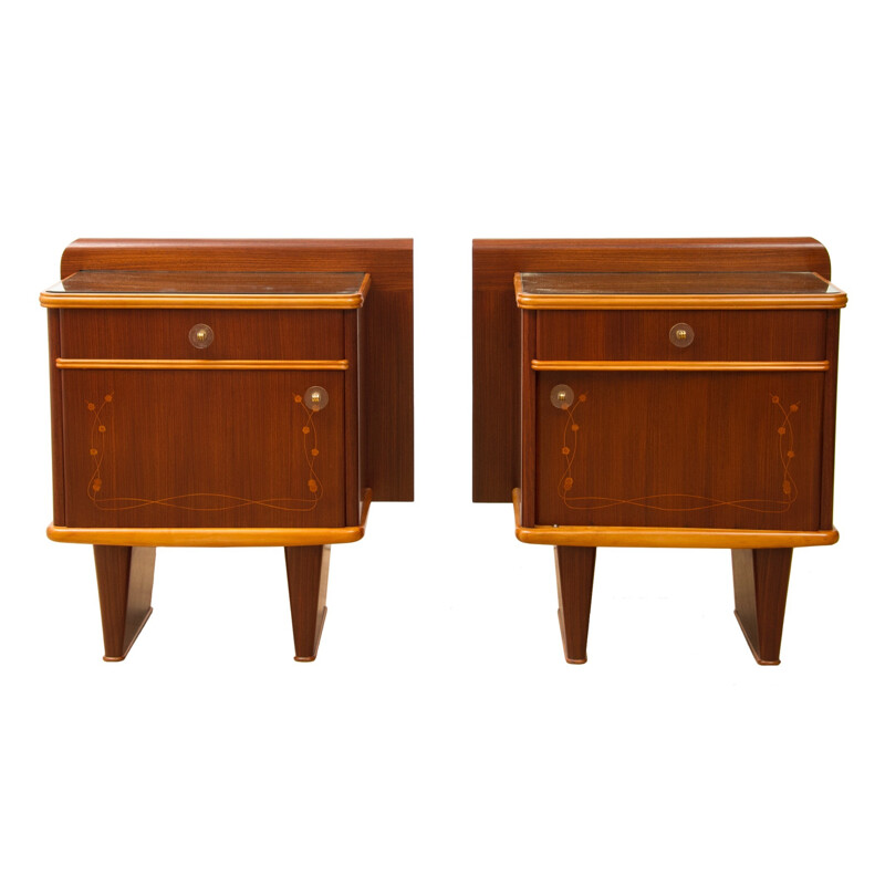 Pair of Italian nightstands with floral decoration Mario Ballini - 1960s