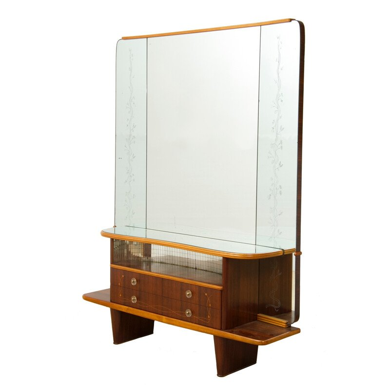 Italian walnut dressing table with floral decoration, Mario Bellini - 1960s