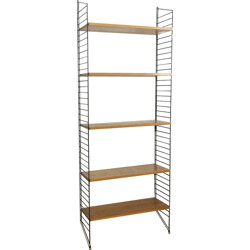 Standing ladder wall unit in elm wood by Nisse Strinning for String Design AB - 1960s
