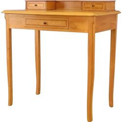 Blond oak lady desk with marquetry - 1950s