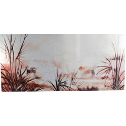 Mid century Belgian very large (220x100) etched metallic landscape picture - 1970s