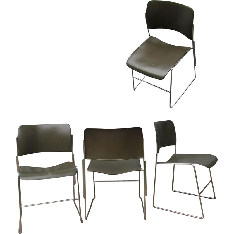 Set of 4 vintage stackable chairs by David Rowland model 404 - 1960s