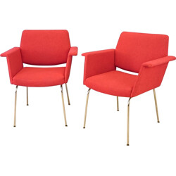Pair of red vintage armchairs  - 1960s