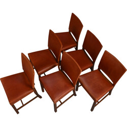 Set of 6 dining chairs model 3949 - Barcelona Chair - by Kaare Klint for Rud Rasmussen - 1930s