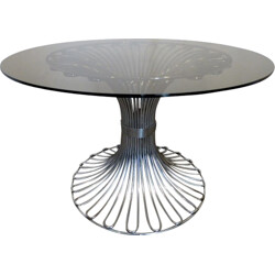Glass and chromed metal dining table - 1970s