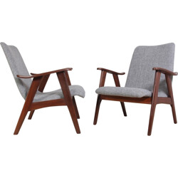 Pair of Dutch lounge armchairs in teak - 1960s