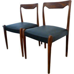 Pair of Scandinavian chairs in black leatherette - 1960s