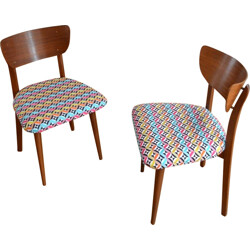 Mid-century wooden chair with a seat in tissu multicoloured - 1950s