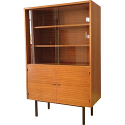Mid-century small bookcase with a window glass - 1960s