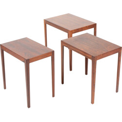 Set of 3 Danish Rectangular Rosewood Nesting Tables - 1960s