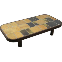 Ceramic and beech coffee table Roger Capron - 1970s