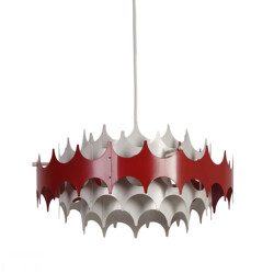 White and red metal hanging lamp for Doria - 1960s