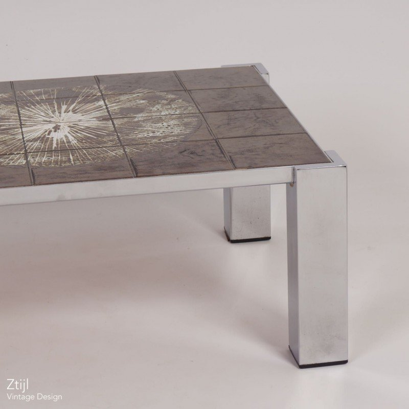 Painted Retro Coffee Table: Hand-Painted Tile Coffee Table By Juliette Belarti