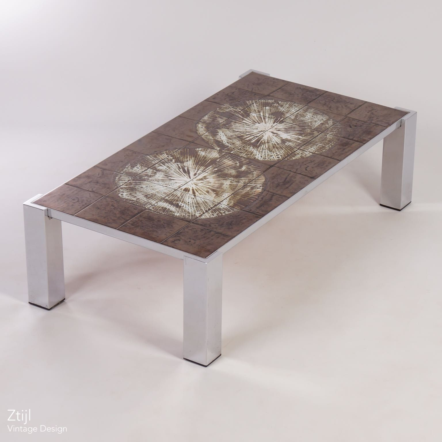 Hand Painted Tile Coffee Table by Juliette Belarti 1970s