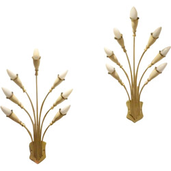 Pair of Italian floral wall lamps in brass and painted metal - 1950s