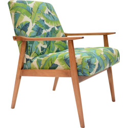 Polish armchair with leaves design - 1960s